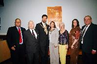 (left to right) David Berkley, vice-president; David Levinson, retiring hon treasurer; Lord Mayor of Manchester Cllr Mohammed Afzal Khan and the Lady Mayoress, Dr Shkeela Kayani, Filis Rosenberg, executive director; Lucille Cohen, president; Gideon Klaus, Hon. secretary